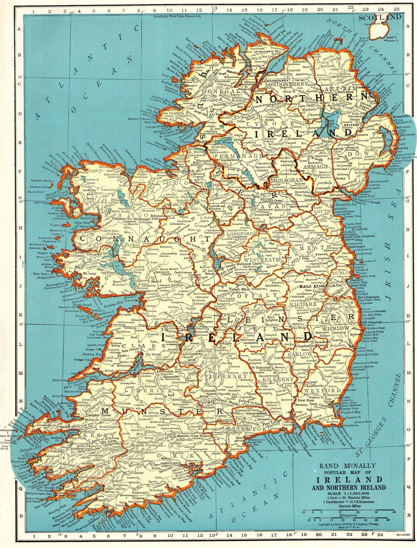 1942 Antique IRELAND Map Vintage Map of Ireland Travel ... on scenes of ireland, views of ireland, vintage old maps, men of ireland, queen of ireland, republic of ireland, beauty of ireland, country of ireland, art of ireland, states of ireland, vintage map scotland, vintage map art, prince of ireland, vintage map england, countryside of ireland, pocket maps of ireland, pottery of ireland, economy of ireland, princess of ireland, vintage maps of philadelphia,