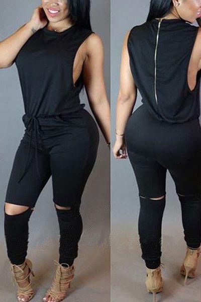 3a894528ead73 Stylish Round Neck Sleeveless Broken Holes Zipper Design Army Black  Polyester One-piece Jumpsuits