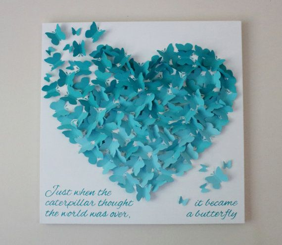20 X Butterfly Quote Wall Art Just When The Caterpillar Thought World Was