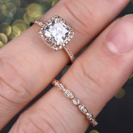 9c6d2cada90857 7mm Moissanite Engagement ring set Rose Gold 1.7ct Cushion Cut Moissanite  Diamond Wedding Band 14K S