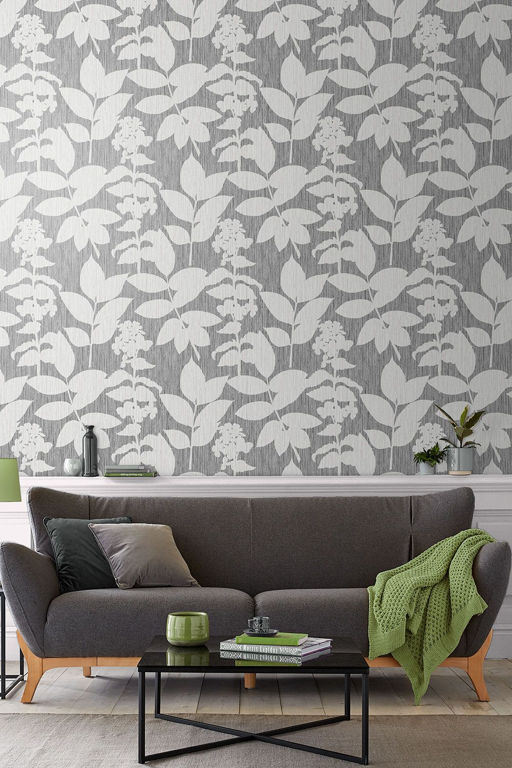 Grey Silver Living Room Ideas Wallpaper Feature Wall In