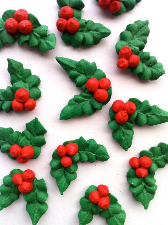 Royal Icing Christmas Holly 30 Pieces On Etsy 10 00