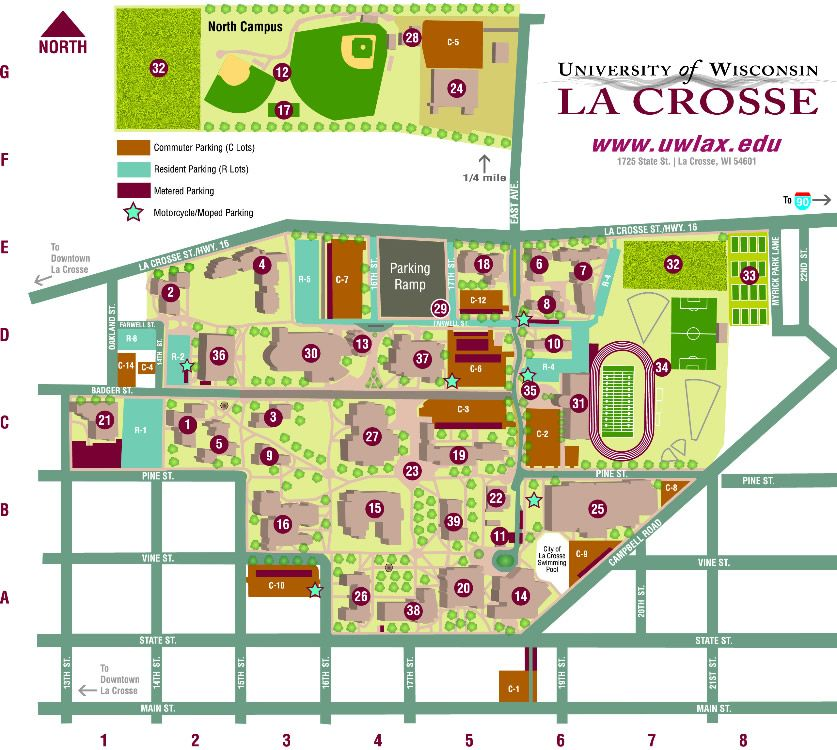 UWL Campus Map | College | Pinterest | Campus map, Map and La crosse