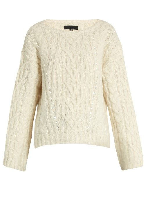 NILI LOTAN Ryder cable-knit alpaca-blend sweater. #nililotan #cloth #sweater