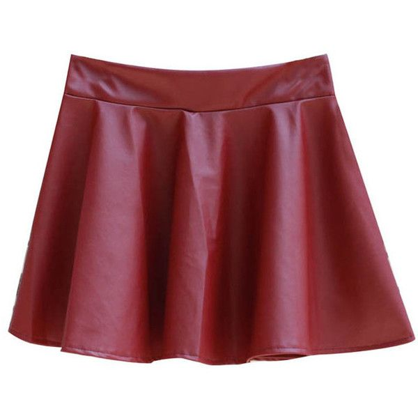 Elastic Waist PU Leather Mini Skirt ($13) ❤ liked on Polyvore featuring skirts, mini skirts, bottoms, chicnova, clothes - skirts, red skirt, high waisted skirts, red mini skirt, red high waisted skirt and pleated skirt