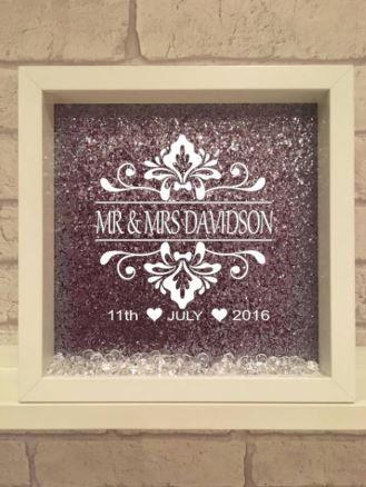personalised wedding frame / wedding gift / handmade frame / vinyl ...