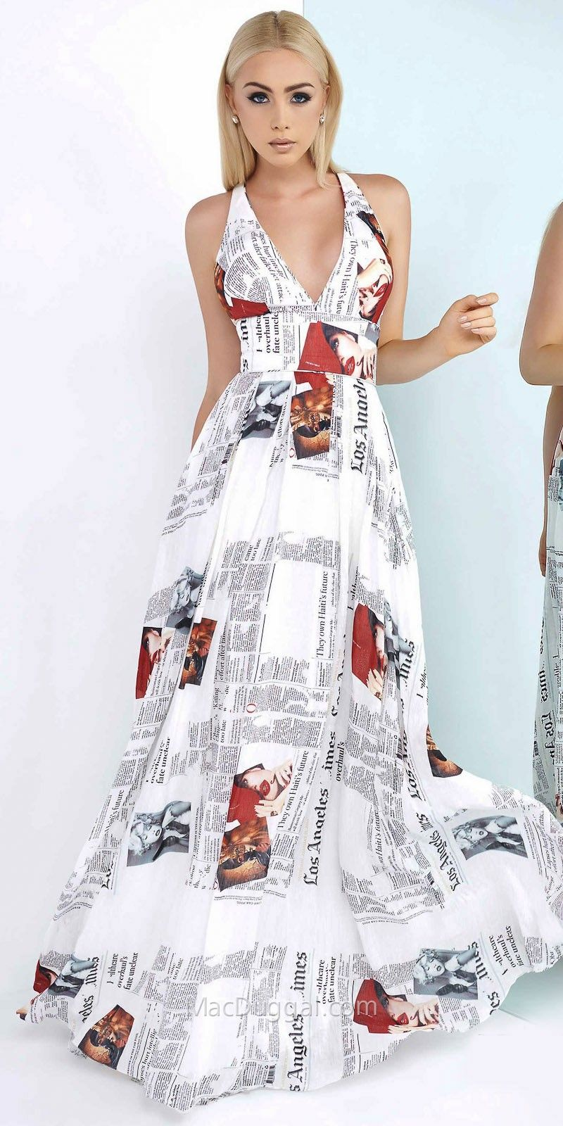 Criss Cross A-Line Pleated News Print Dress by Mac Duggal - Step out ...