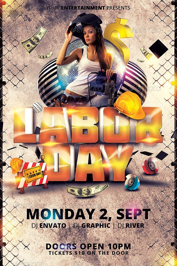 Labor Day Flyer Template  Th Of JulyMemorial Day