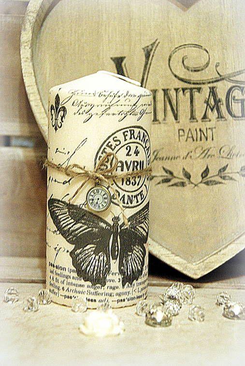 Sviečka Vintage Motýľ