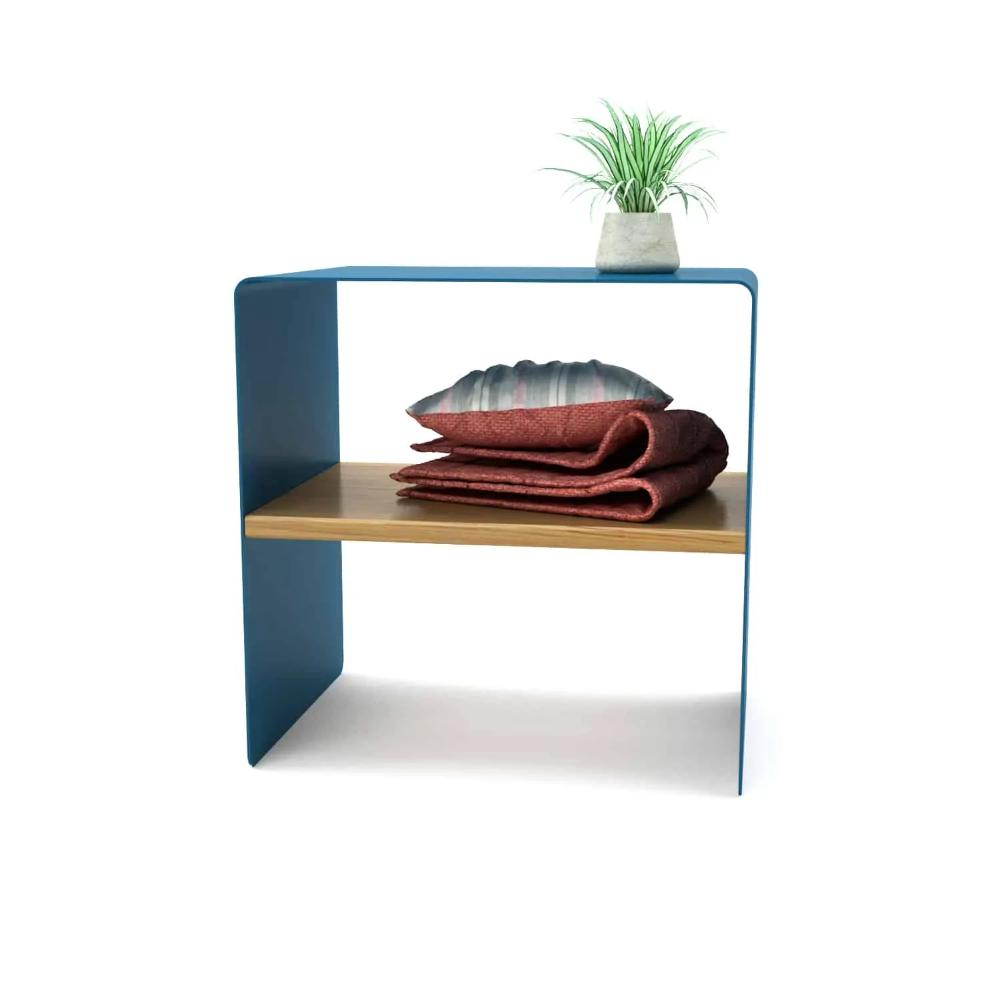Beistelltisch Mnmlsm Classic Holz Metall Eiche Astfrei Blau Stahlzart Mobel Onlineshop In 2020 Beistelltisch Holz Holz Und Metall Beistelltisch