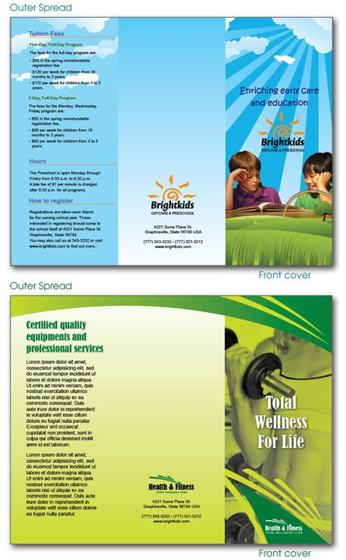 Daycare Preschool And Health  Fitness Center Brochures  Graphic