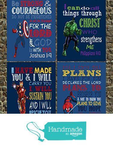 Superhero Set of 4 - Christian Wall Art Print - Spiderman, Captain America, Ironman, Hulk - Nursery Playroom or Kids Room Decor from Pixie Paper
