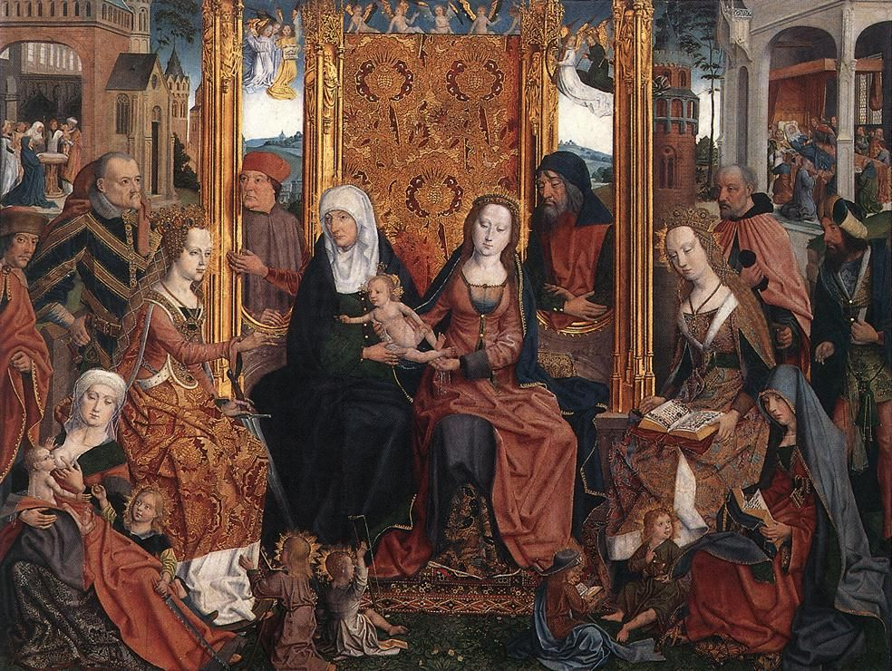 Best of Exposition ArtThe Holy Kinship Altarpiece central panel German Unknown Master religious Painting Simple - Popular religious paintings Trending