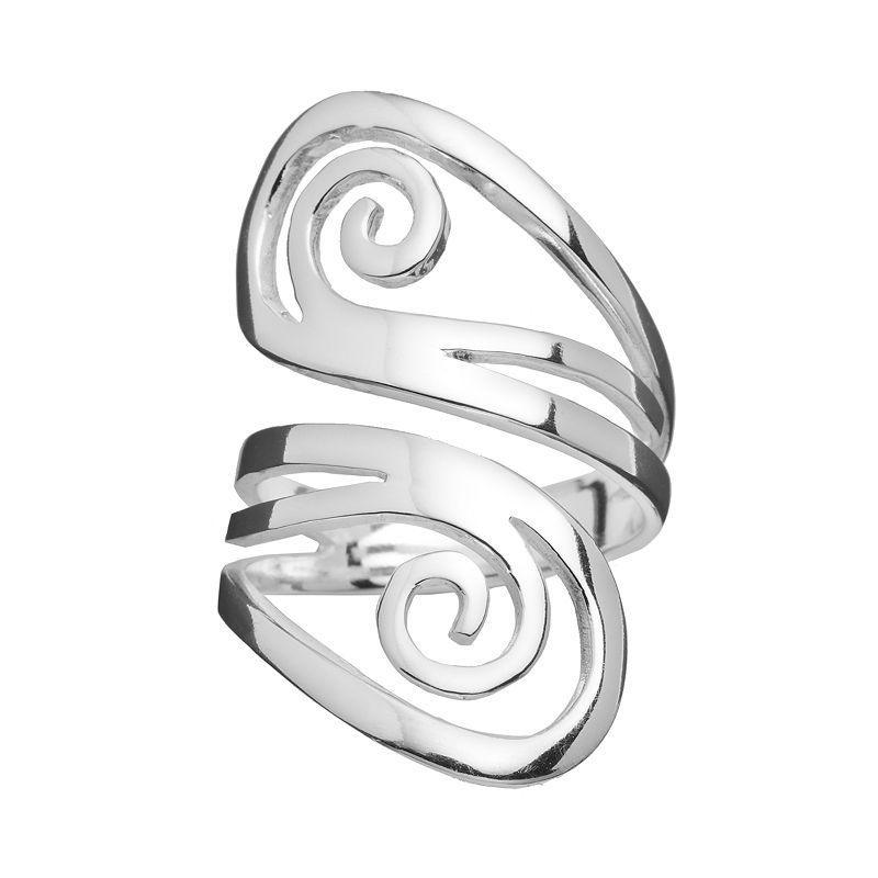Silver Plated Double Swirl Ring