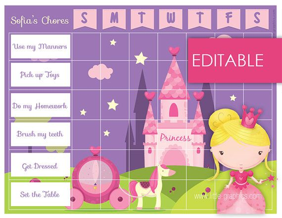 Princess reward charts editable printable chore chart instant also rh pinterest