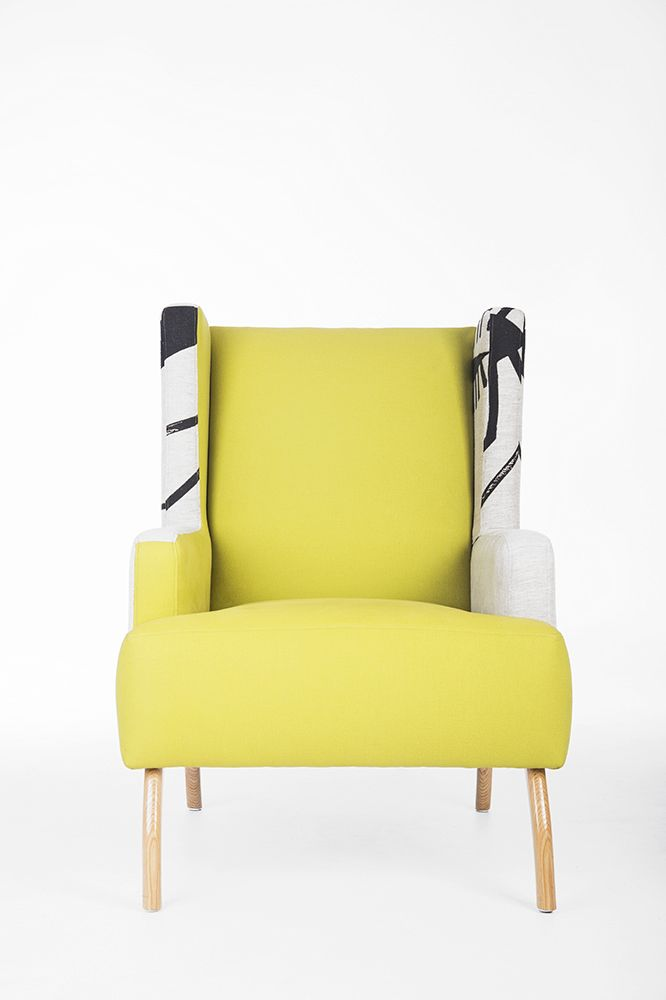 Walter Battiss Wingback. Upholstered in Chartreuse.  Edition 3/5. Bofred Feature Furniture.