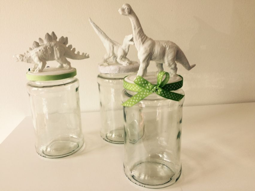 Dinosauruksilla koristeltu lasipurkki | askartelu | kesä | käsityöt | koti | sisustus | DIY ideas | kid crafts | summer | home | decor | Pikku Kakkonen