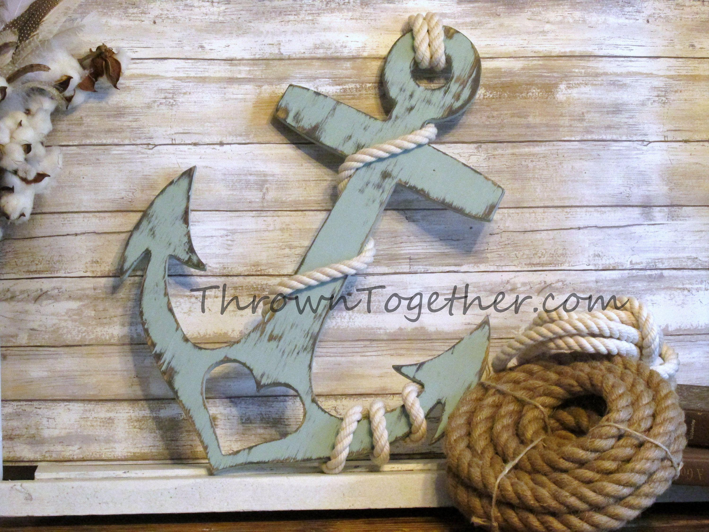 Anchor With Heart And Rope Nautical Beach Wood Wall Decor Handmade 20 Wood Anchor Rustic Wedding Prop Farmhou Wood Wall Decor Wood Anchor Art Gallery Wall