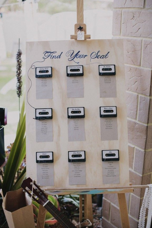 Cassette wedding seating chart for Rock & Roll wedding | Wedding ...