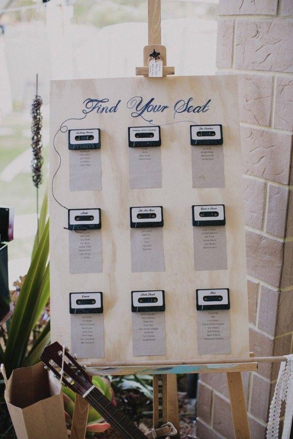 Cassette wedding seating chart for rock roll wedding who doesnt music themed backyard wedding bernadette peter rock n roll bride junglespirit Choice Image