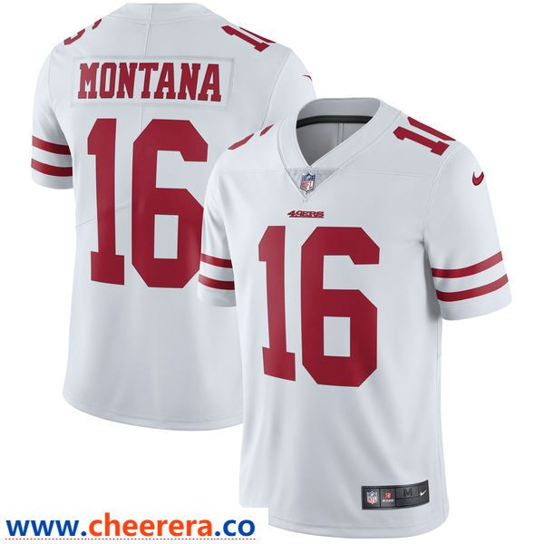 Nike Men s San Francisco 49ers  16 Joe Montana White Stitiched Rush Vapor  Untouchable Limited Throwback 1e9941923