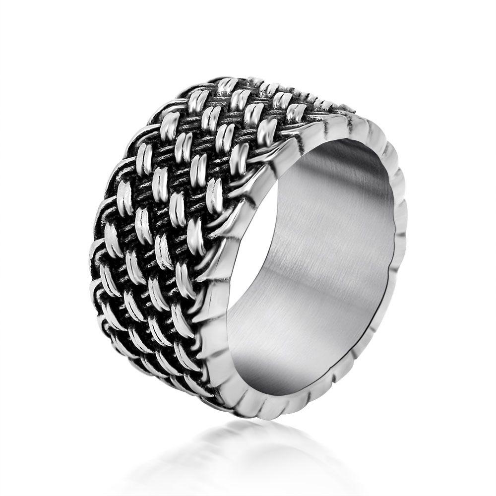 BFQ retro design Love intertwined weave men\'s ring vintage ...