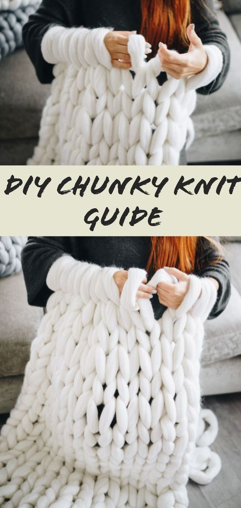 How to make a chunky knit blanket – DIY guide for beginners #knitting