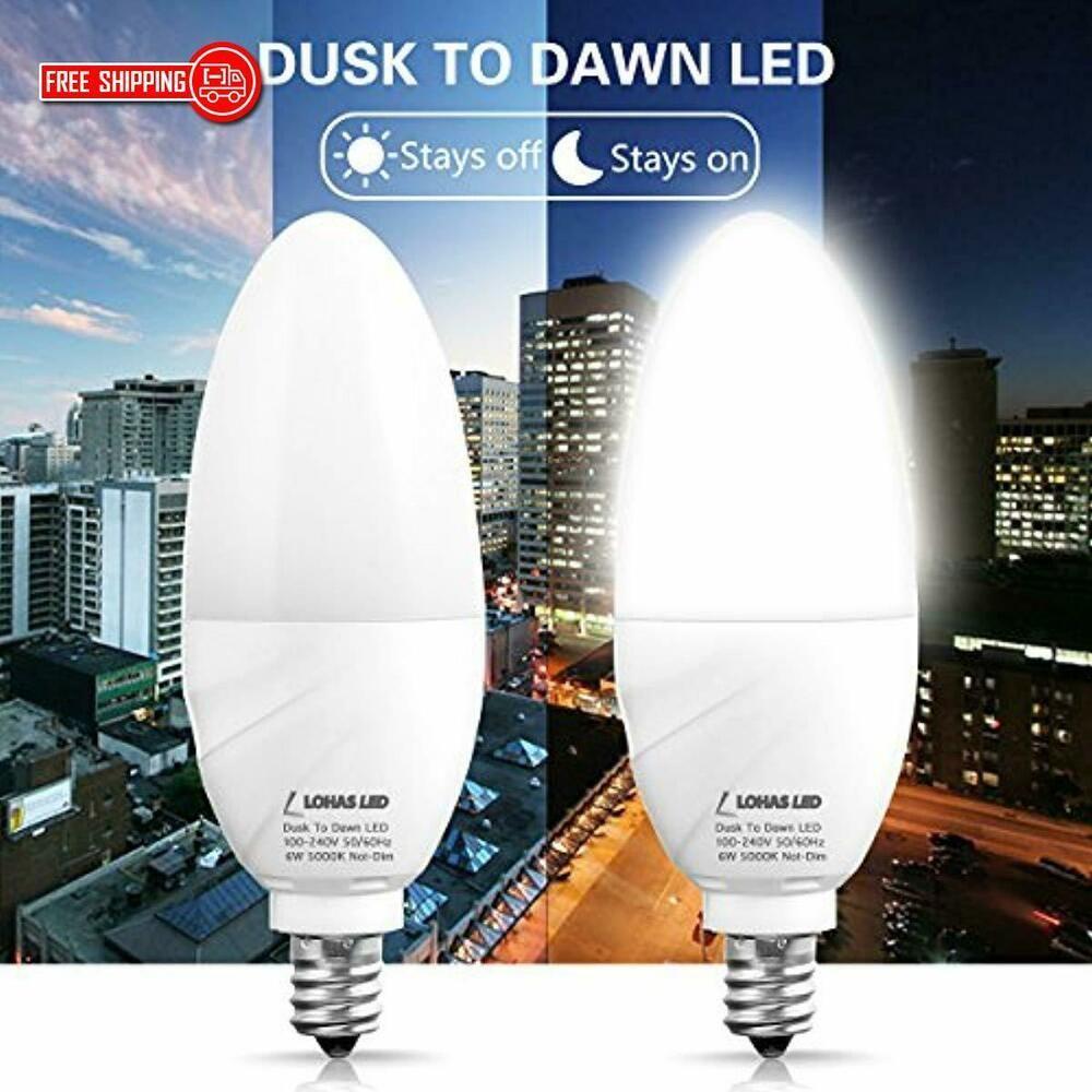 Lohas Dusk To Dawn 60w E12 Candelabra Base Bulb 6w Daylight White 5000k Outdoor Doesnotapply Sensor Lights Outdoor Dusk To Dawn Porch Lighting