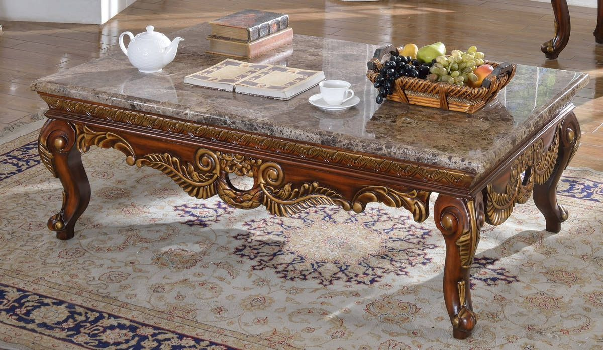 Loretto Cherry Genuine Marble Top Hand Crafted Designs Coffee Table - Genuine marble coffee table