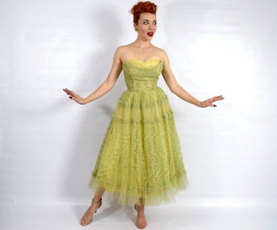 50s Yellow Tulle Evening Dress | Citron Green Strapless Prom Dress ...