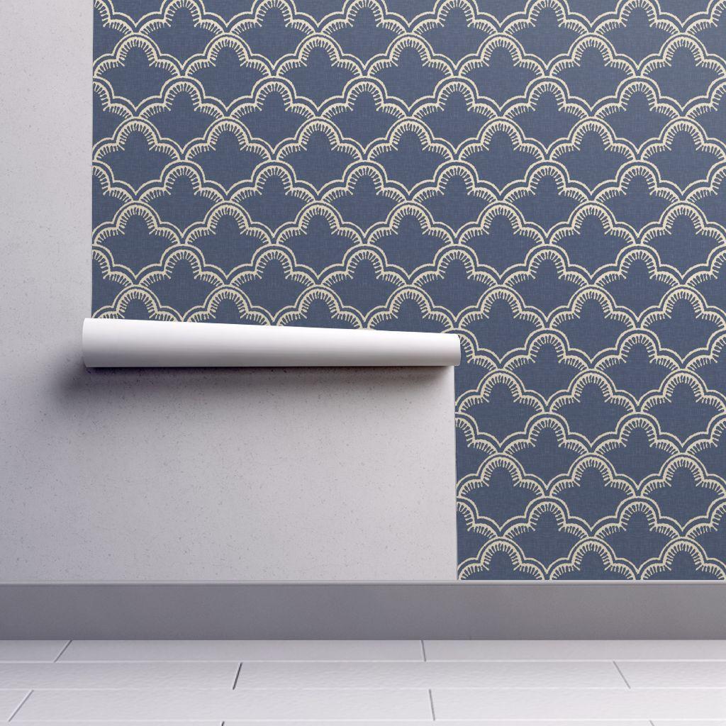 Wallpaper Tangier in Indigo Linen Indigo linen, Linen