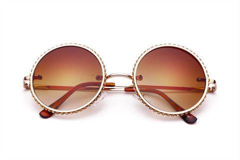 97e4019bb THE BLISSED | Óculos de Sol Redondo Retrô com Pedras Brilhosas na Armação  de Metal