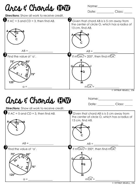 Arcs and Chords - Mrs. Newell's Math | math foldables | Special ...