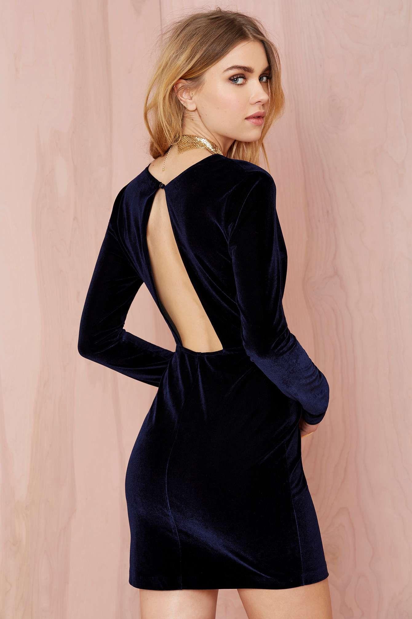 Nasty gal deep midnight mini velvet dress navy shop clothes at