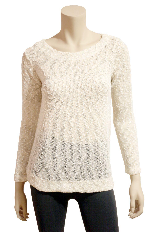 Cream Knit Sweater W/White Popcorn & Gold Lurex - Only $31.50 ...