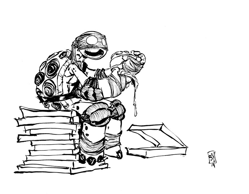 #DailySketch Double-fisting pizza.  Original art available http://skottieyoungstore.bigcartel.com