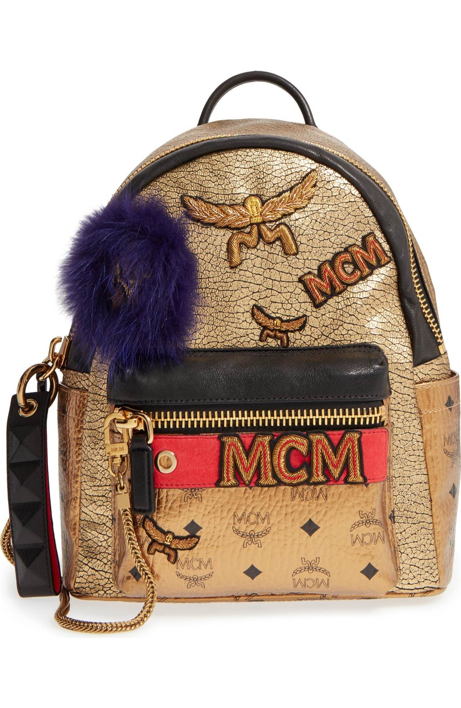 93d643401f ... Bags for Women. Main Image - MCM  Stark Insignia  Metallic Leather  Backpack with Genuine Fox Fur Trim