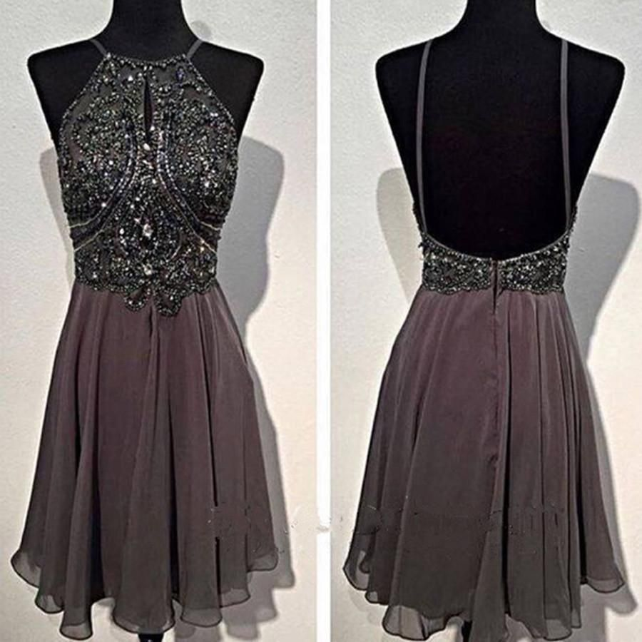 Dark grey sparkly special vintage open back sexy popular homecoming