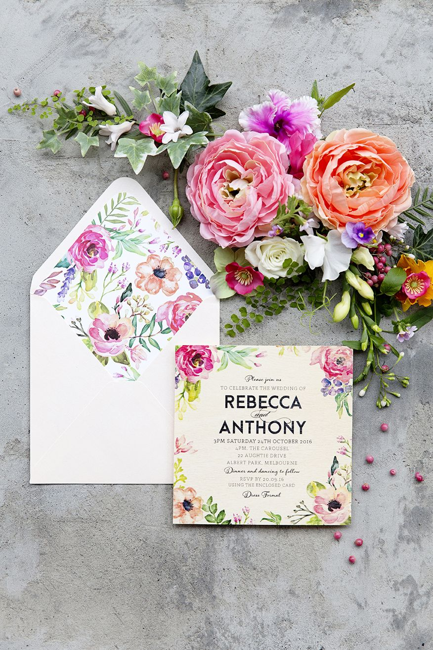 The Print Fairy Floral Wood invitation - In Bloom design with ...