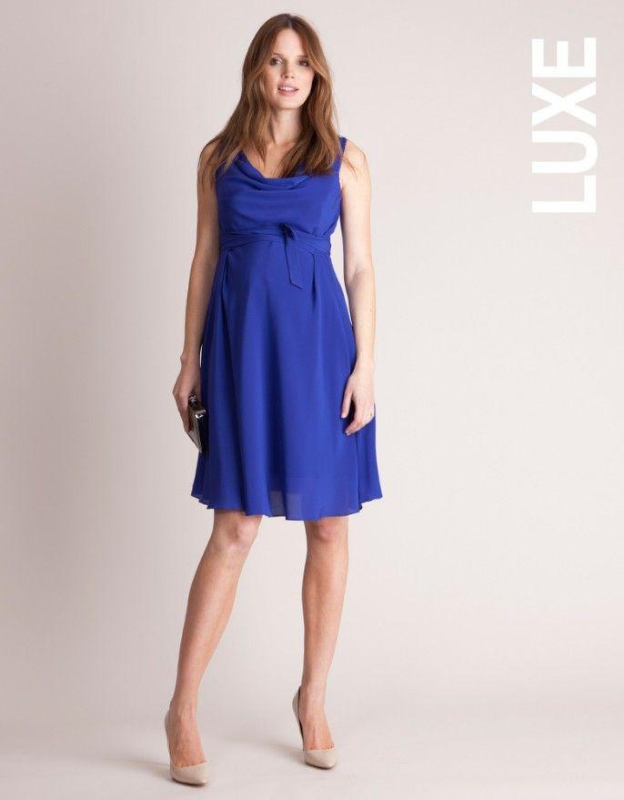 248056fef7a Sapphire Silk Maternity Cocktail Dress