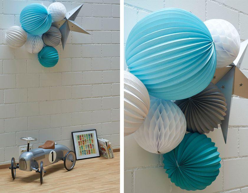 lampions chambre enfants #decoration #chambre #enfant #bleu #gris