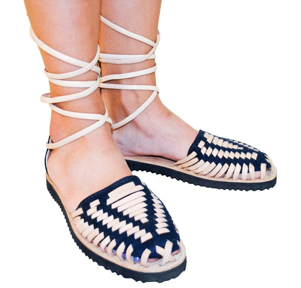 d2f9471f3eb7 Women s Navy Gladiator Woven Leather Huarache Sandals