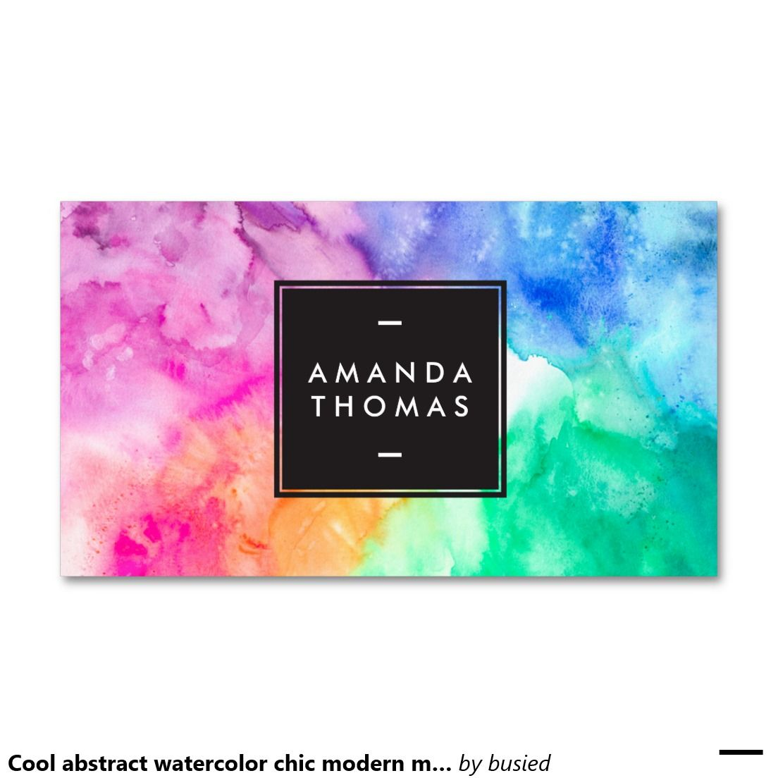 Cool abstract watercolor chic modern makeup artist Double-Sided standard business cards (Pack of 100)
