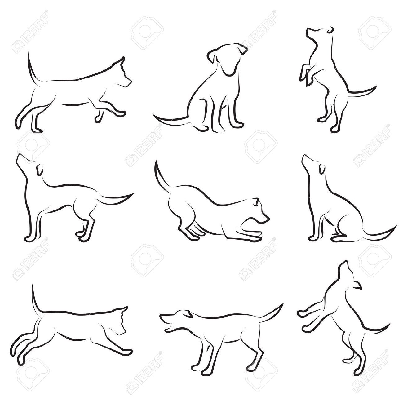 Stock Vector Dog Tattoos Dog Outline Dog Silhouette