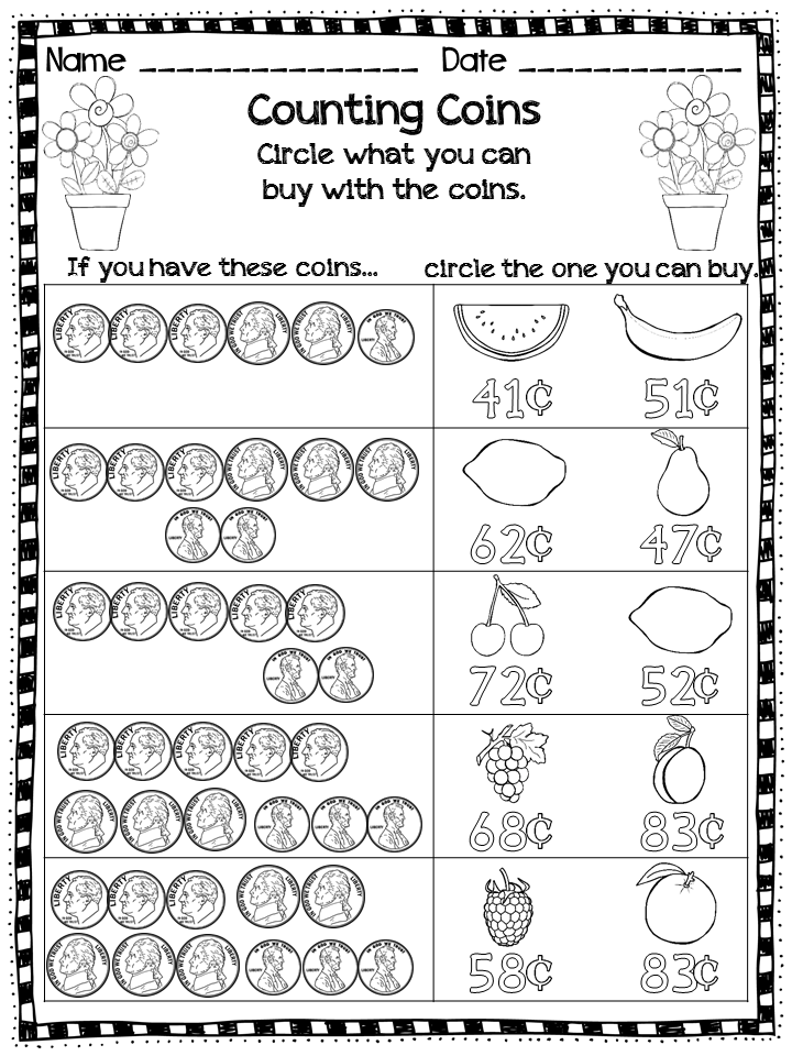 First Grade Math Counting Coins Coins Money Printables Money Math First Grade Math 2nd Grade Math