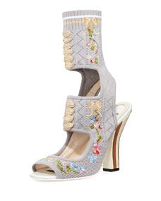 Fendi Embroidered Lace-Up Sandal Bootie, Gray Pattern
