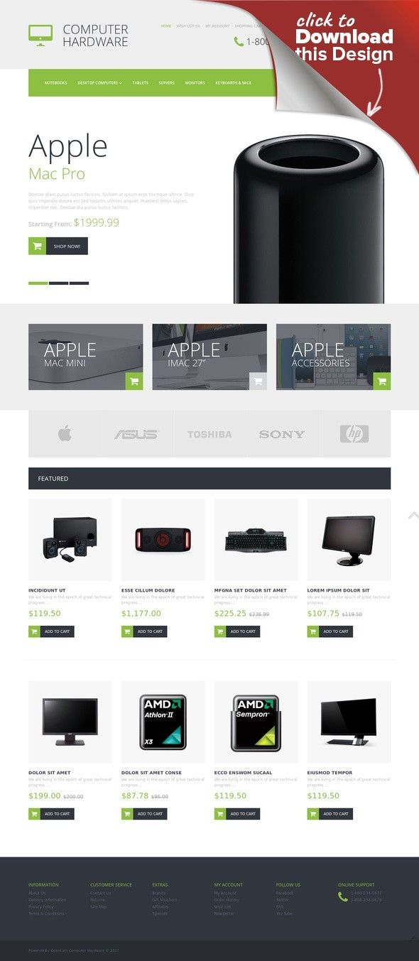 Computer Hardware OpenCart Template | Template
