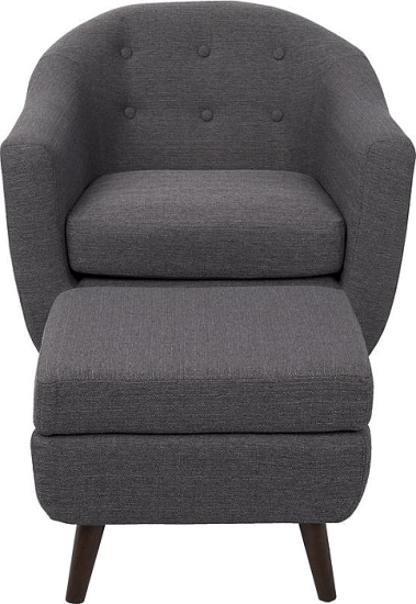 Henley Barrel Chair And Ottoman In Charcoal Gray Accent Chairs By