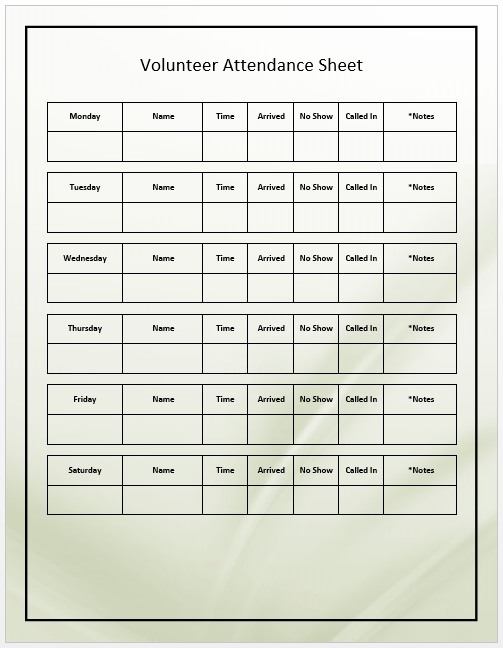 Volunteers Attendance Sheet Template  Template
