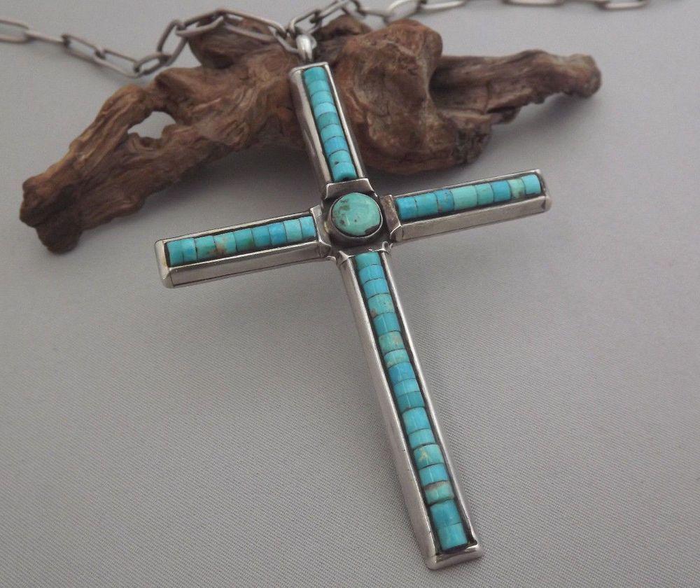 Rare xl 3 58 navajo les baker turquoise sterling silver cross rare xl 3 58 navajo les baker turquoise sterling silver cross pendant buycottarizona Images